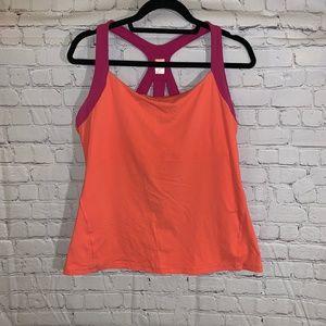 Lucy Sz XL Orange Pink Workout Tank Top Racerback